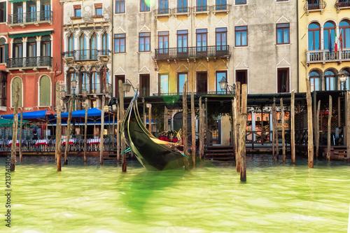 Plakat Piękni kanał grande budynki przy latem w Wenecja, Włochy.