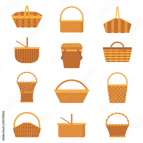 Fotografija Wicker and willow picnic baskets set isolated on white background