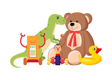 Teddy Bear And Dinosaur Set Ve...