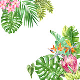 background with watercolor leaves and flowers - 213751665