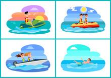 Human Summer Activities Set Vector Illustration