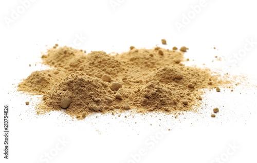 Deurstickers Aromatische Ginger powder isolated on white background, (Zingiber officinale)