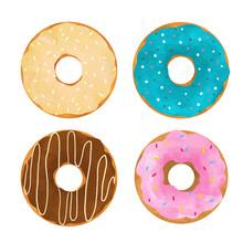 Watercolor Donuts Vector Set