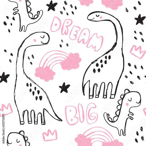 sliczny-brontozaura-i-doodles-bezszwowy-wzor