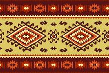 Oriental Mosaic Rug With Traditional Folk Geometric Ornamen. Seamless Pattern