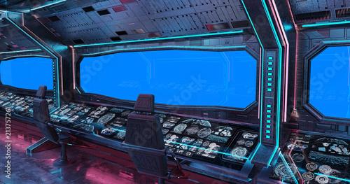 Grunge Spaceship interior background 3D rendering