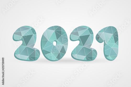 Fotografia  2021 polygonal vector symbol