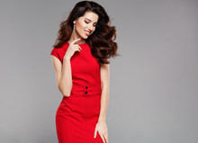 Beautiful Woman In A Red Dress...