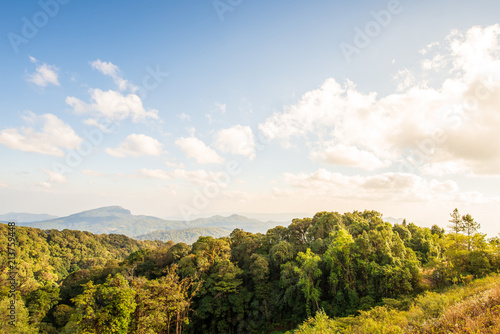 Fotobehang Wit mountain and blur sky background, Landscape background.
