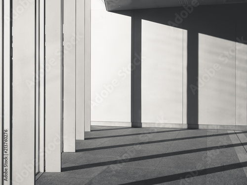 Fotografie, Obraz  Architecture Details Cement concrete wall with Columns Shadow shade light
