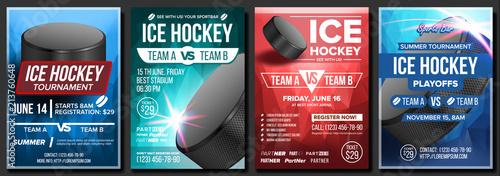 Fotografía  Ice Hockey Poster Set Vector