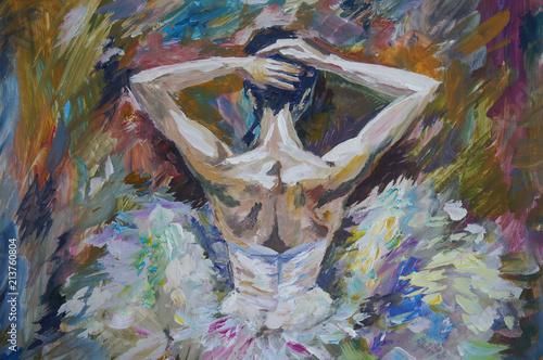 Fototapeta Ballerina Painting Acrylic and Full spectrum on Canvas and Cardboard artist creative painting background obraz