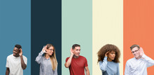 Group Of People Over Vintage Colors Background Smiling With Hand Over Ear Listening An Hearing To Rumor Or Gossip. Deafness Concept.