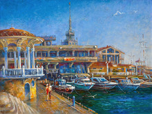 Embankment Of The Seaport Of The Resort City Of Sochi. Picturesque Picture: Oil On Canvas. Author: Nikolay Sivenkov.
