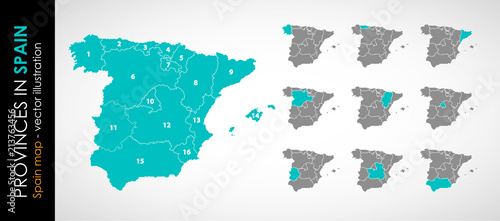 Vector map of Spain and provinces