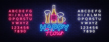Happy Hour Neon Sign Vector. H...
