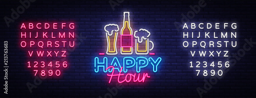 Fotografia  Happy Hour neon sign vector