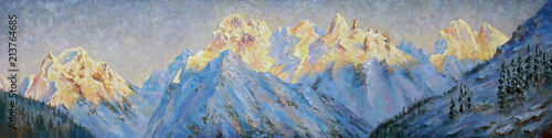 An oil painting on canvas. Golden peaks of the Elbrus region at dawn. Mountain landscape in bright and juicy tones. Author: Nikolay Sivenkov.