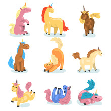 Flat Vector Set Of Adorable Unicorns In Different Actions. Mythical Animal With Single Horn. Elements For Postcard, Children Book Or Game