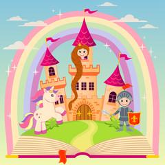 Fairytale book with castle, princess, knight, unicorn and rainbow
