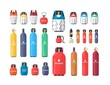 Collection of industrial compressed gas cylinders or tanks of various size and color isolated on white background. Bundle of different pressure vessels. Colorful vector illustration in flat style.