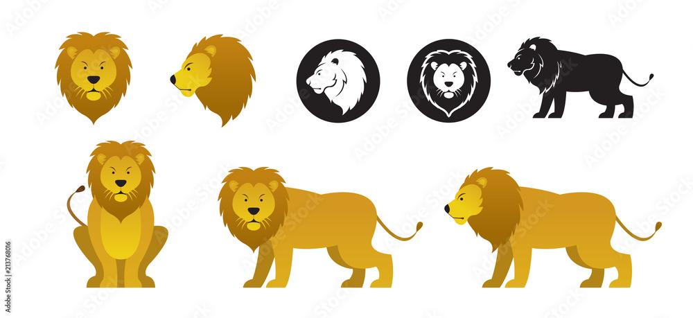 Fototapeta Lion Vector Set, Front View, Side View, Silhouette