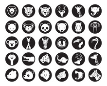 Wild Animals Head Vector Silhouette Set, Zoo, Safari, Icons And Symbols