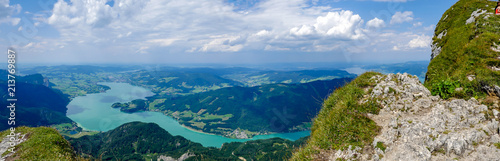 Keuken foto achterwand Europa Panorama Landschaft Mondseeblick