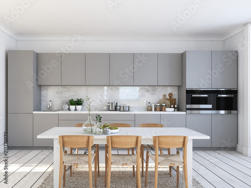 modern nordic kitchen in loft apartment. 3D rendering - fototapety na wymiar