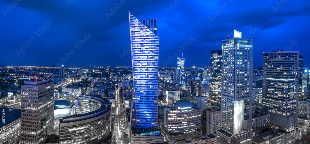 Fototapety, obrazy: Panoramic view of Warsaw downtown during the night