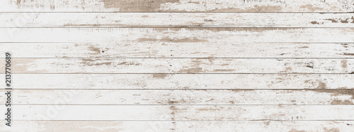 Ingelijste posters Retro wood board white old style abstract background objects for furniture.wooden panels is then used.horizontal