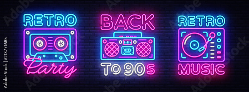Obraz Back to 90s neon poster collection, card or invitation, design template. Retro tape recorder cassettes neon sign, gramophone symbol, light banner. Back to the 90s. Vector illustration - fototapety do salonu