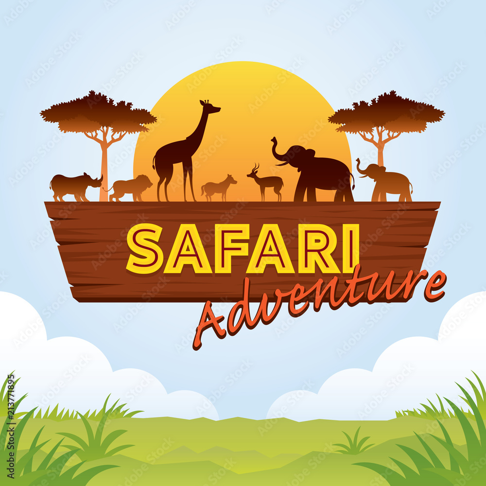 Fototapeta African Safari Adventure Sign with Animals Silhouette
