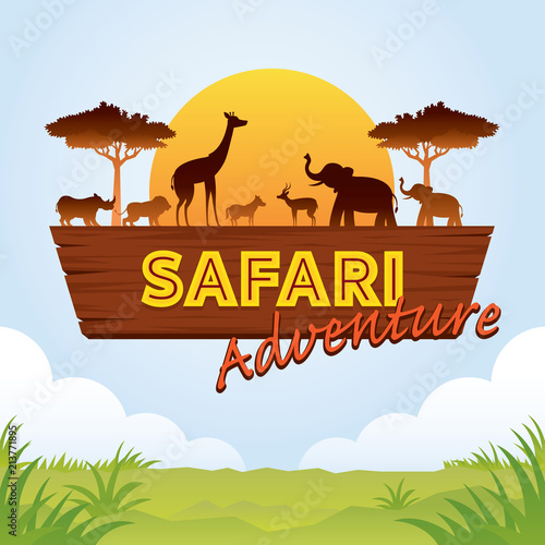 Photo  African Safari Adventure Sign with Animals Silhouette
