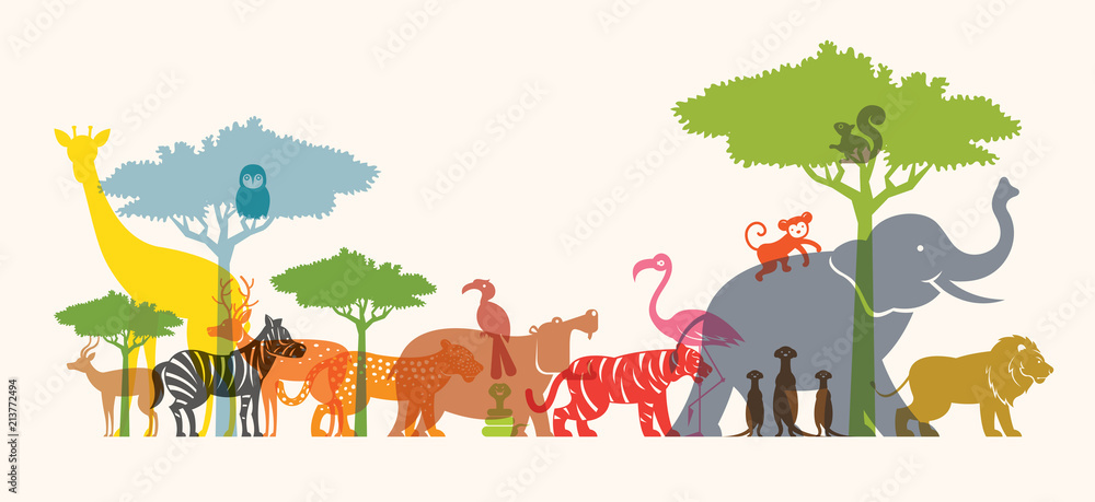 Fototapeta Group of Wild Animals, Zoo, Silhouette, Colourful Shape