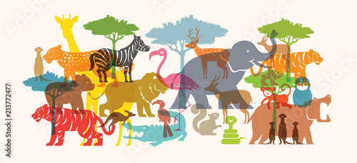 Group of Wild Animals, Zoo, Silhouette, Colourful Shape Canvas Print