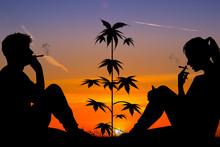 Couple Smoking Marijuana Outdoors