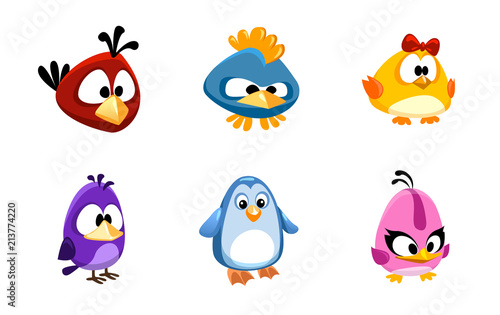 Fotografie, Tablou  vector set of birds funny cartoon