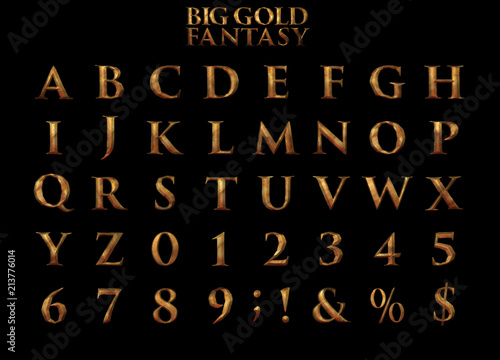 Fotografie, Tablou  Big Gold Fantasy Alphabet 3D illustration