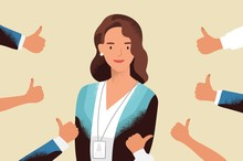 Smiling Happy Young Woman Surrounded By Hands With Thumbs Up. Concept Of Public Approval, Acknowledgment, Recognition, Acceptance And Appreciation. Colorful Vector Illustration In Flat Cartoon Style.