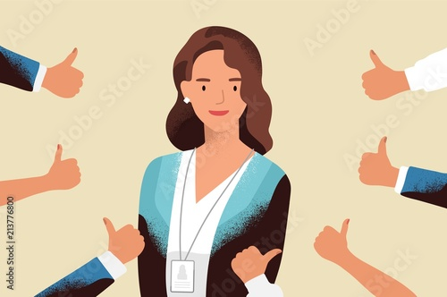 Fotografia  Smiling happy young woman surrounded by hands with thumbs up
