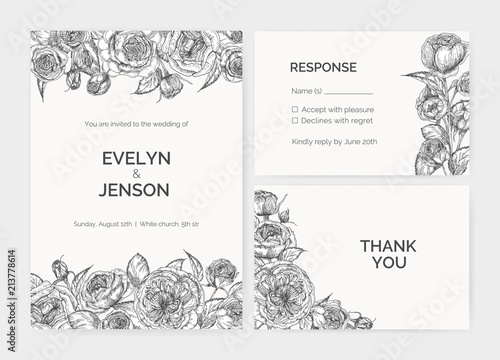 set of elegant wedding invitation response card and thank you note templates decorated by austin