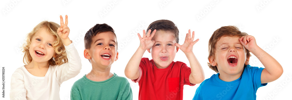 Fototapety, obrazy: Children doing joke and laughing