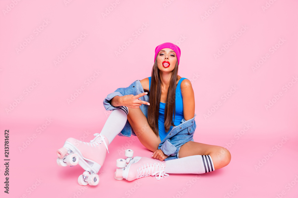 Fototapety, obrazy: Youngster culture people person luxury color concept. Full length size studio photo portrait of beautiful attractive pretty fashionable girlish lady making v-sign isolated pastel bright background
