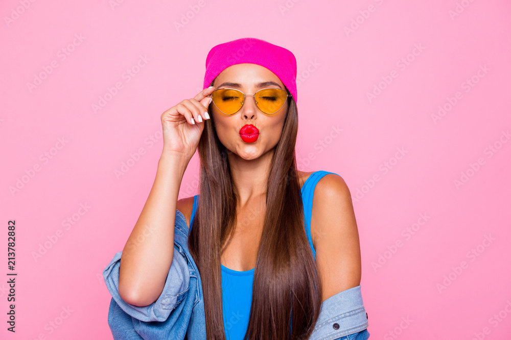 Fototapety, obrazy: Close up photo portrait of winsome pretty cute lovely sweet glad nice lady sending kiss to you wearing orange transparent glasses closed eyes isolated pastel background