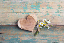 Wooden Heart With Chamomiles O...