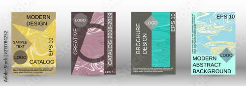 Fototapeta Marble texture covers set. obraz na płótnie
