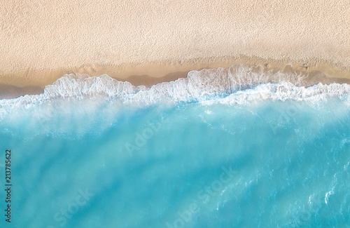 Poster de jardin Vue aerienne Aerial view at the beach. Beautiful natural seascape at the summer time