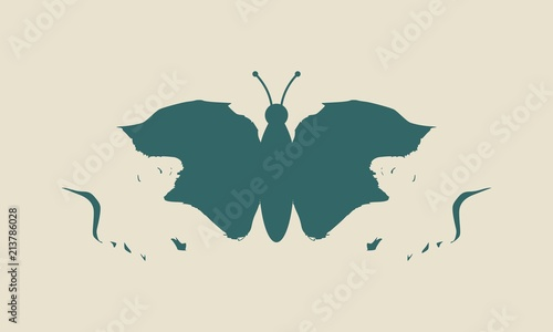 Naklejka premium Widok profilu motyla lub dwóch twarzy. Złudzenie optyczne. Ludzka głowa czyni sylwetkę owada
