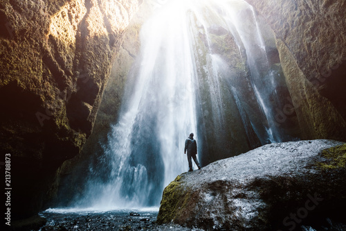 Fotobehang Watervallen Perfect view of famous powerful Gljufrabui waterfall in sunlight.